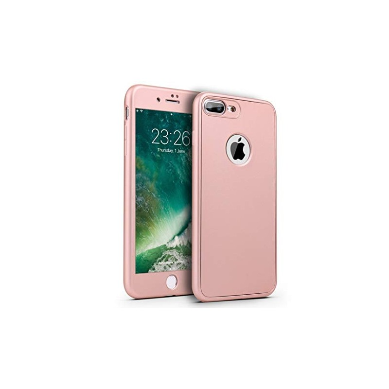 coque iphone 6 6s or rose protection integral 360 avec verre trempe